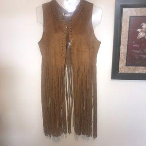 Brave Soul Fringed Vest Brown Size Large